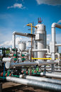 Oil and gas processing plant with blue sky Royalty Free Stock Images