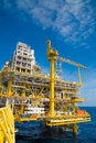 Oil and gas processing platform producing gas condensate and water and sent to onshore refinery get petrochemical Stock Images