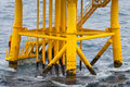 Oil and gas producing slots at offshore platform industry bad weather in Stock Photos