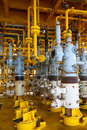 Oil and gas production slot on the platform, Well head control on oil and rig industry Royalty Free Stock Photo