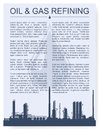 Oil and gas refinery or chemical plant silhouette magazine page booklet layout detail vector illustration with copyspace Stock Images