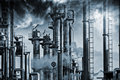 Oil and gas refinery industrial fuel smoke smog pollution a surreal look Royalty Free Stock Photography