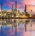 Oil gas refinery with reflection, factory, petrochemical plant Royalty Free Stock Photo
