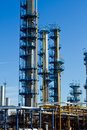 Oil and gas refinery towers Stock Photos
