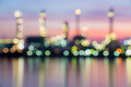 Oil and gas refinery at twilight time blurred photo bokeh Royalty Free Stock Photos