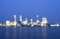 Oil and gas refinery at twilight time blurred photo bokeh thailand Royalty Free Stock Images