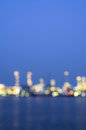 Oil and gas refinery at twilight time blurred photo bokeh thailand Royalty Free Stock Image