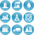 Oil and gas related icons white on blue balls Royalty Free Stock Photo