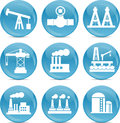 Oil and gas related icons white on blue balls Royalty Free Stock Image