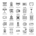 Oil heater, fireplace, convector, panel column radiator and other house heating appliances line icons. Home warming thin