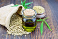 Oil hemp with flour on board Royalty Free Stock Photo