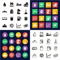 Oil Industry All in One Icons Black & White Color Flat Design Freehand Set Royalty Free Stock Photo