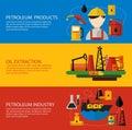 Oil Industry Banner Flat Set