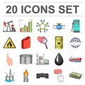 Oil industry cartoon icons in set collection for design. Equipment and oil production vector symbol stock web
