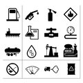 Oil industry and petroleum icons set isolated on white Stock Photography