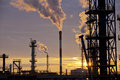 Oil Industry Refinery factory at Sunset Royalty Free Stock Photo