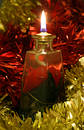 Oil Lamp & Tinsel Stock Image