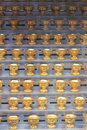 Oil lamps many golden on metal frame Royalty Free Stock Photo