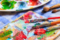 Oil paint, different types of brushes and palette Royalty Free Stock Photo