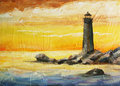 Oil painted picture with sea, sunset and beacon Stock Image
