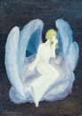 Oil painted white angel on cloud in black sky Royalty Free Stock Photo