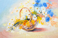 Oil painting - abstract bouquet of spring flowers
