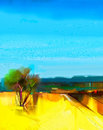 Oil painting Abstract colorful yellow and blue sky landscape Royalty Free Stock Photo