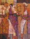 Oil painting, artist Roman Nogin, series `Female talk.` Author`s version of color