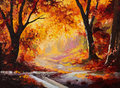 Oil Painting - autumn forest Royalty Free Stock Photo