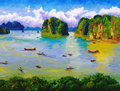 Oil Painting - Bay, Thailand Royalty Free Stock Photos