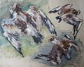 Oil painting of birds Stock Photo