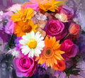 Oil painting a bouquet of rose,daisy and gerbera Royalty Free Stock Photo