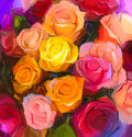 Oil painting a bouquet of rose flowers Royalty Free Stock Photo