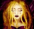 Aceite en lienzo de Rubia mujer llorar en oscuro
