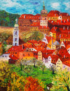 Oil painting cesky krumlov czech republic of Royalty Free Stock Images