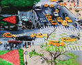 Oil painting cityscape with streets cars and pedestrians Stock Photography