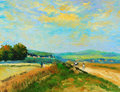Oil-Painting - Countryside Stock Photo