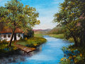 Oil Painting - Farmhouse near the river, river blue, blue sky Royalty Free Stock Photo