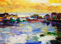 Oil painting fishing village of Royalty Free Stock Photos