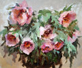 Oil painting of flowers the beautiful Stock Images
