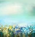 Oil painting of flowers plant. Dandelion flower in fields. Meadow landscape with wildflower.