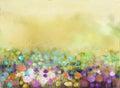Oil painting flowers plant. Purple cosmos, white daisy, cornflower, wildflower, dandelion flower in fields Royalty Free Stock Photo