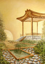 Oil painting with gazebo in Asian Japanese Garden Royalty Free Stock Photos