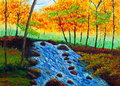 Oil Painting - Incoming Autumn Stock Images