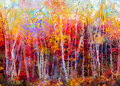 Oil painting landscape - colorful autumn trees Royalty Free Stock Photo