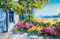 Oil painting landscape - garden near the house, colorful flowers