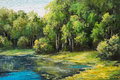 Oil painting landscape - lake in the forest, summer day. Royalty Free Stock Photo