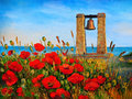 Oil painting landscape - poppies near the sea, bell at sunset.