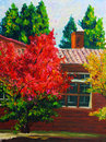 Oil Painting - Maple in Autumn Royalty Free Stock Photo