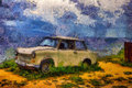Oil painting old car on a sea